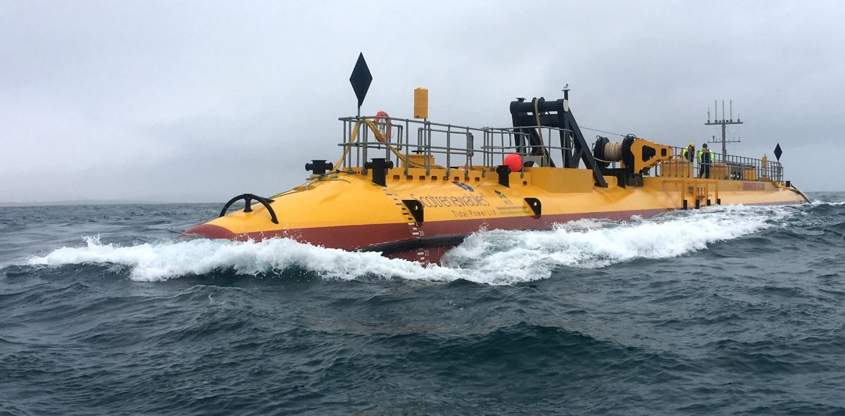 The Scotrenewables SR2000 is the world's most powerful tidal turbine. Photo courtesy of Scotrenewables Tidal Power Ltd.