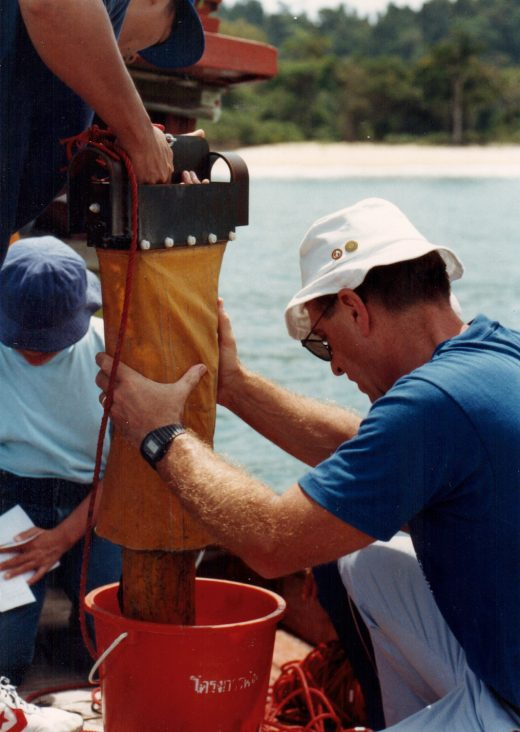 Robert Higgins samples the bottom sediment for meiofauna