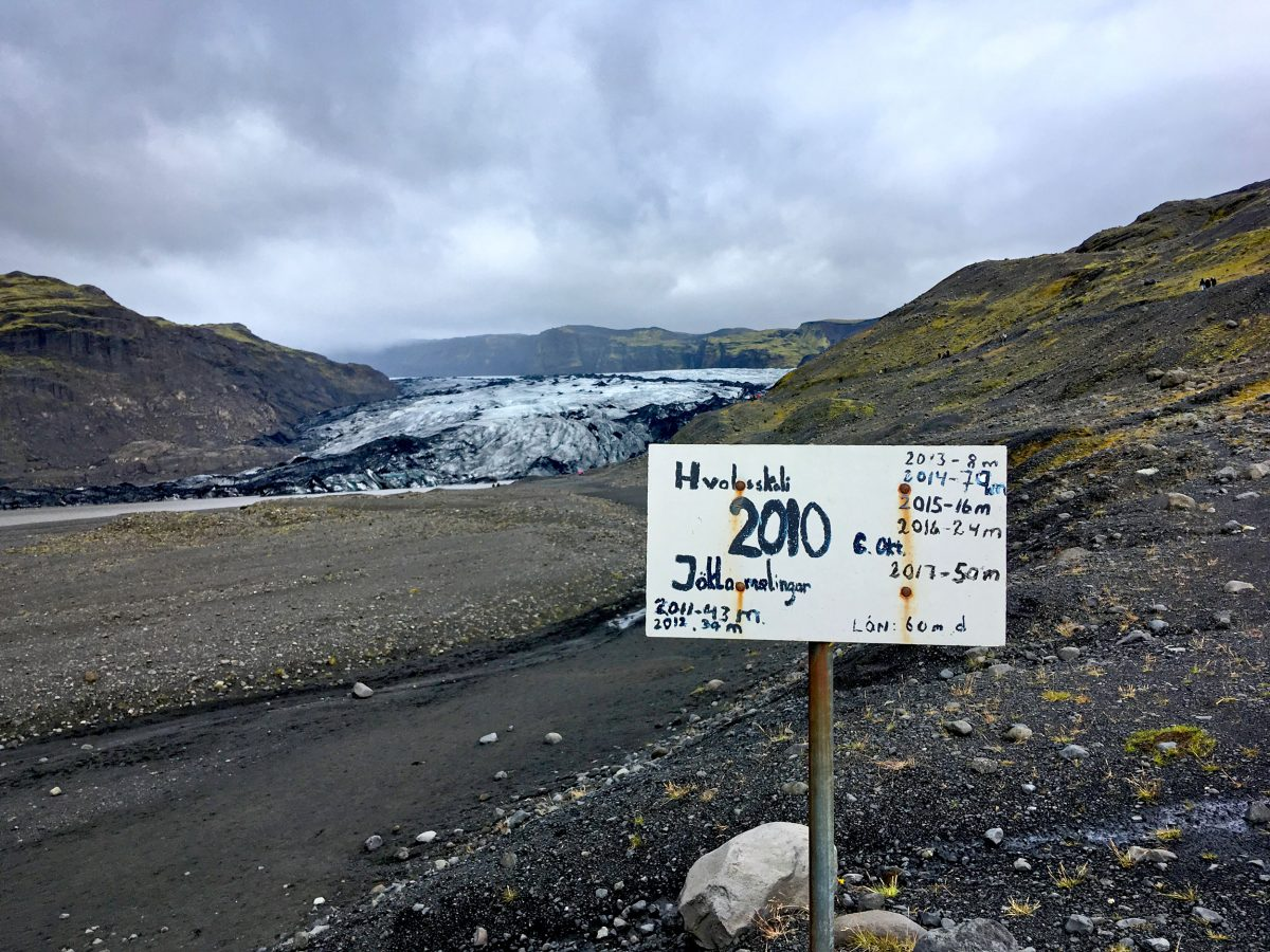 Sign recording the recession of the Sólheimajökull glacier, Iceland
