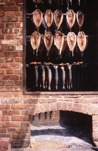 Kippers and bloaters in the smokehouse. Photo by Jacqui Hurst/Corbis