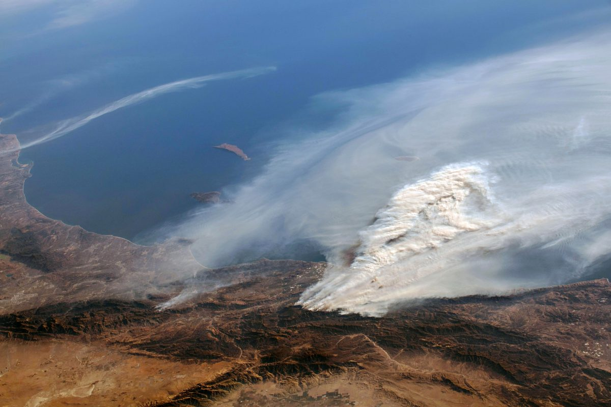 smoke from the Thomas Fire photographed from the International Space Station