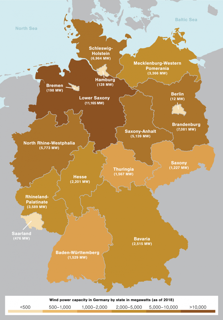 wind power production in Germany by state