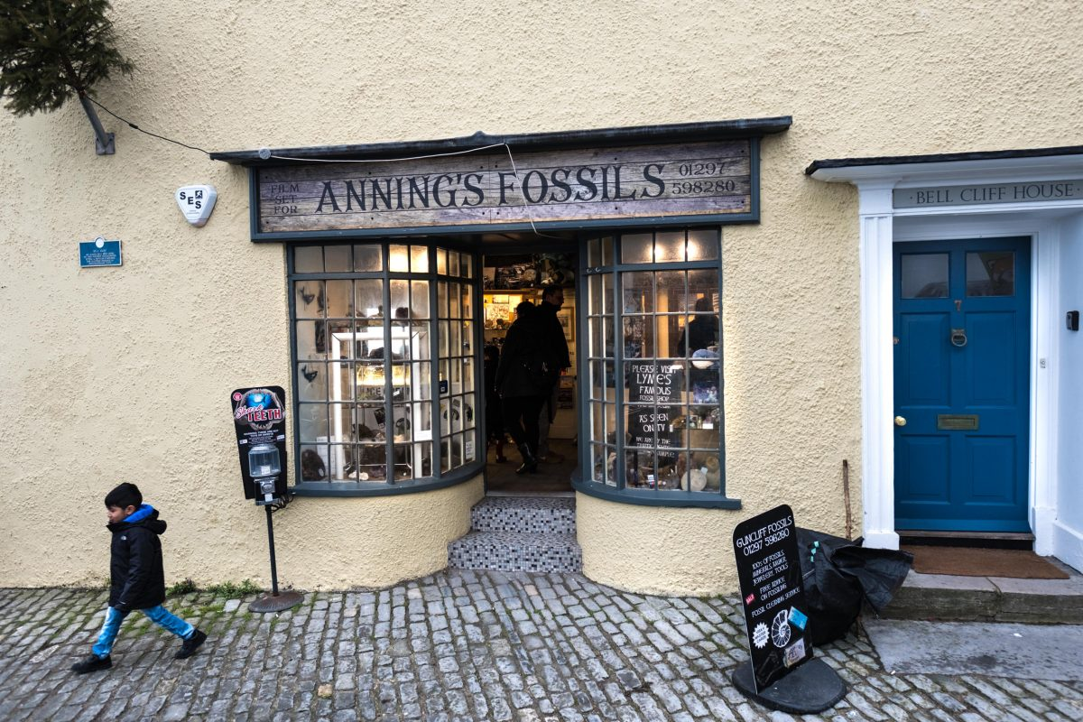 A boy walks out of a fossil and curio shop owned by longtime collector Barry Titchener. The shop was used as the setting for Mary Anning's fossil business on the set of the upcoming biopic about the Lyme Regis–based fossil collector. Her actual shop was situated just across the street.