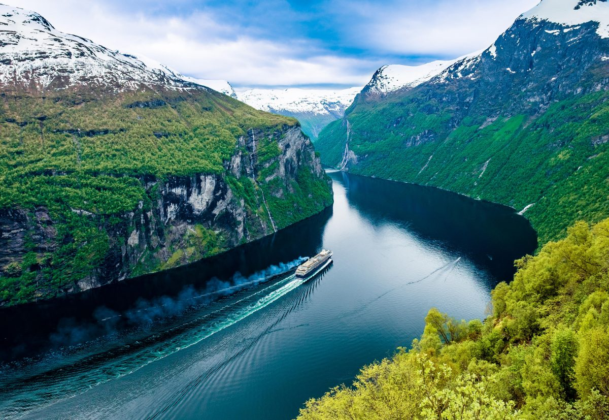 a cruise ship in the Storfjord region of Norway