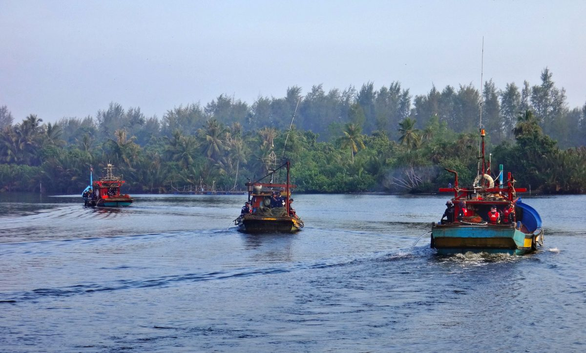 Three shrimp trawlers equipped with TEDs depart Kota Bharu, Malaysia.