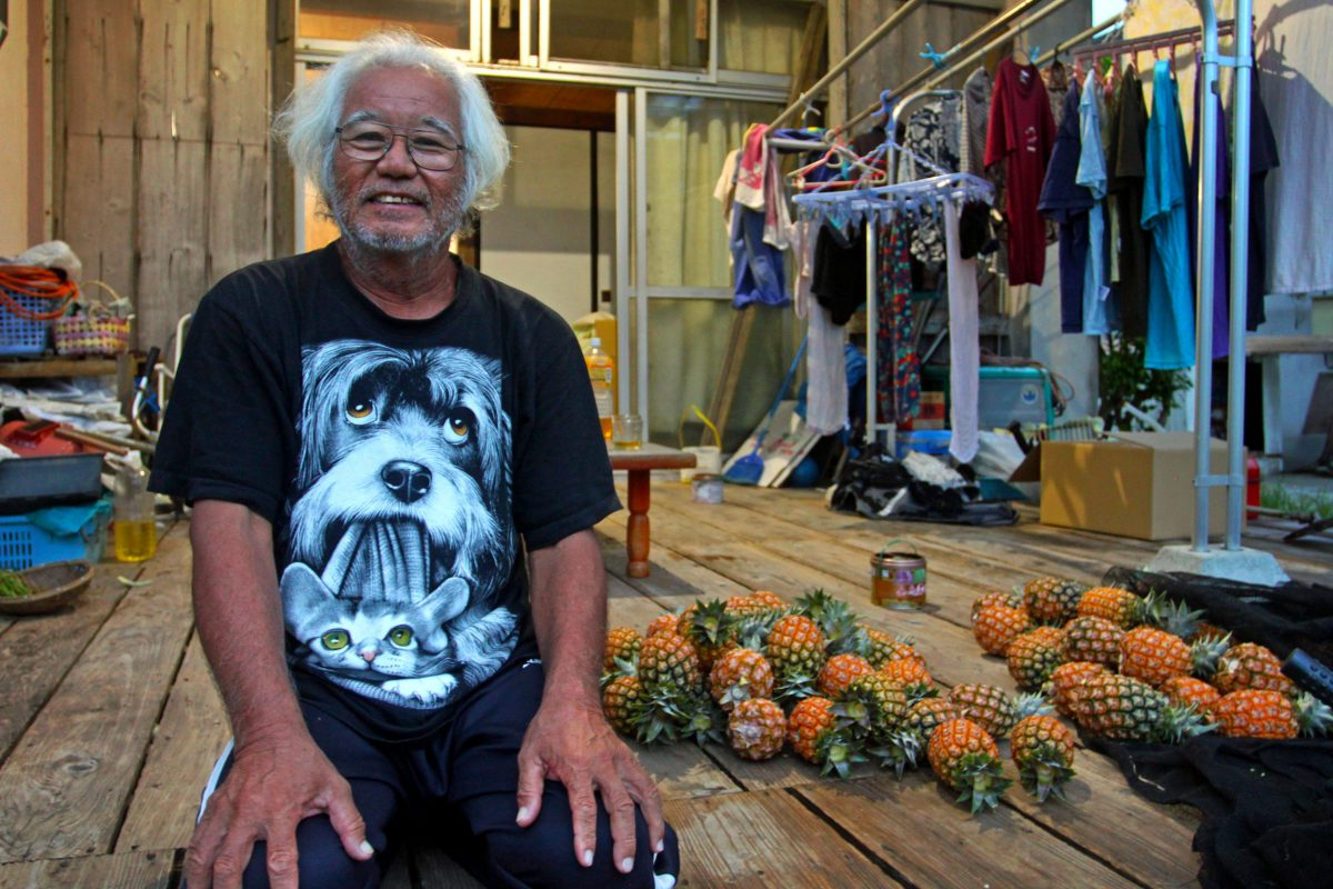 Farmer Hiko Tsukayama at his home in Iriomote, Japan