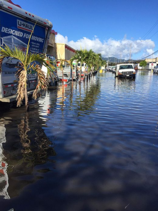 flooded UHaul lot in Honolulu