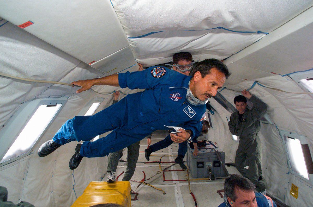 Astronaut Charles J. Camarda aboard NASA's KC-135 aircraft
