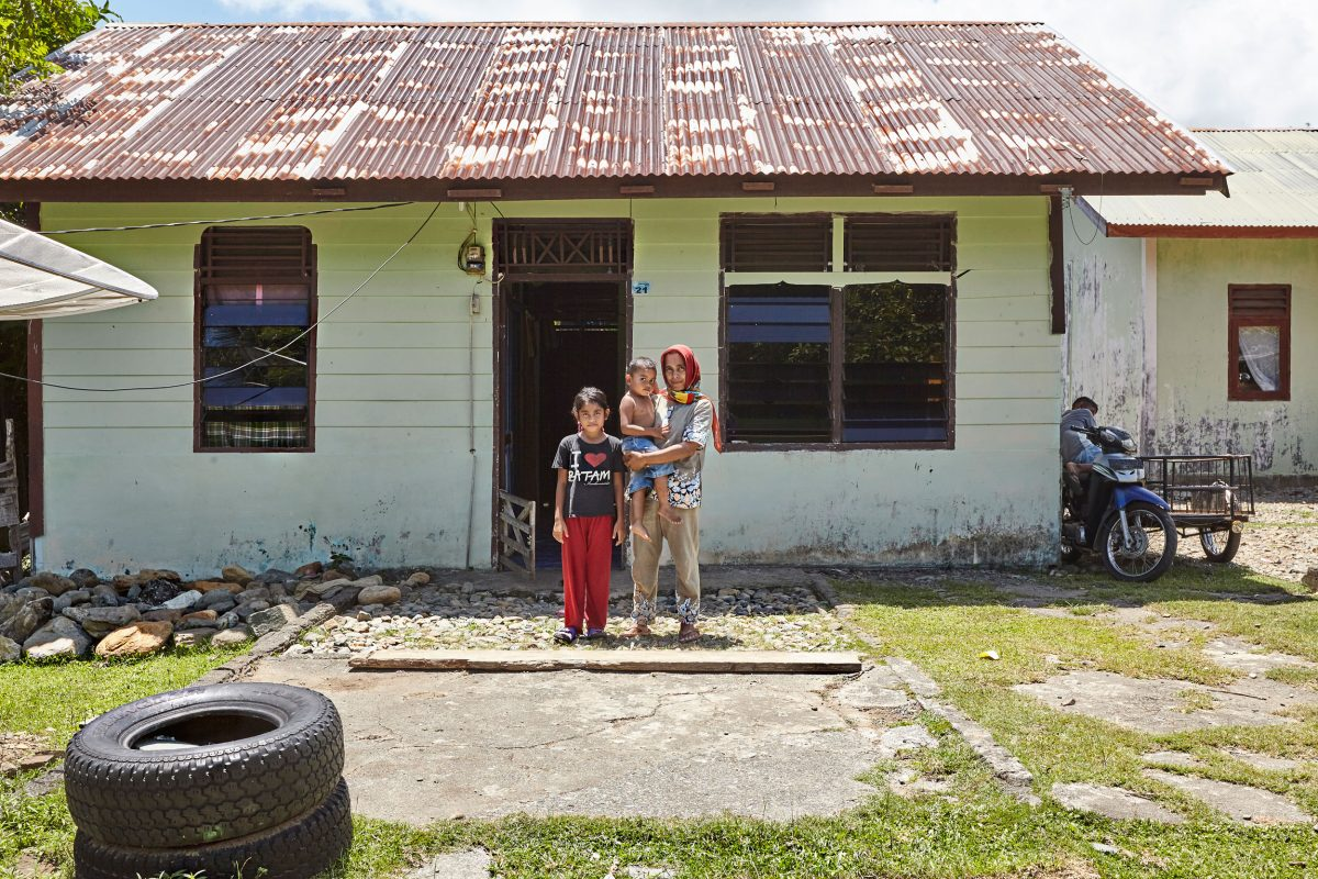 The house Mustika Wati and her family were given after the tsunami contains carcinogenic building material.