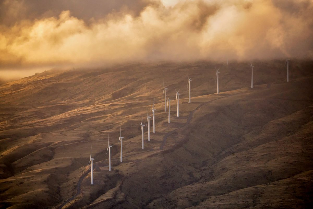 wind turbine farm on the Hawaiian island of Maui