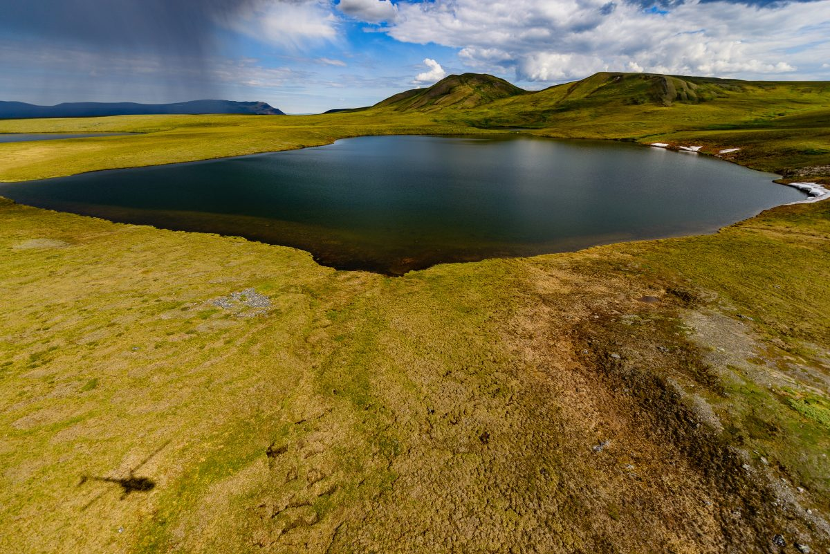 Wolverine Lake, near the Toolik Lake Research Natural Area, underlain by permafrost, on the North Slope of Alaska.